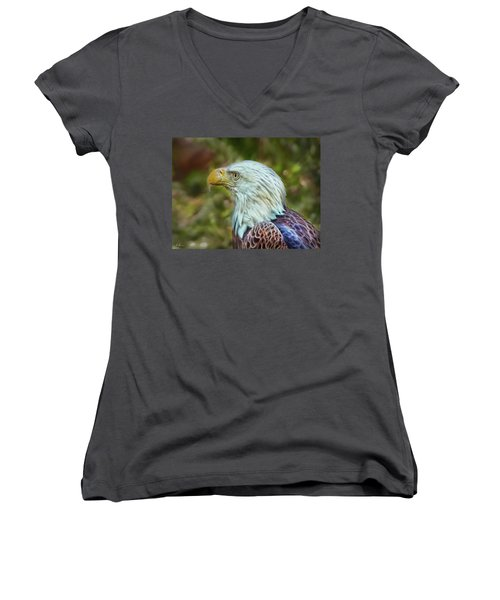 Women's V-Neck T-Shirt featuring the photograph The Eagle Look by Hanny Heim