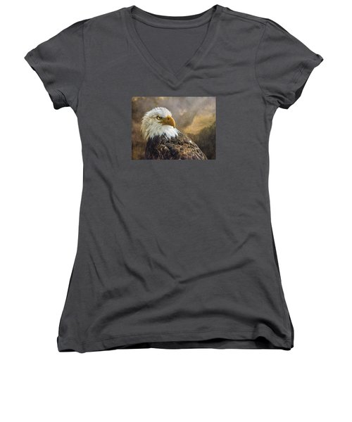 The Eagle's Stare Women's V-Neck T-Shirt (Junior Cut) by Brian Tarr