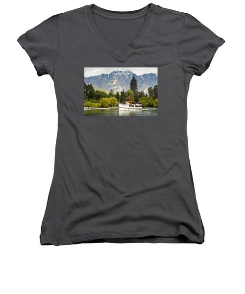 The Earnslaw Women's V-Neck T-Shirt (Junior Cut) by Werner Padarin