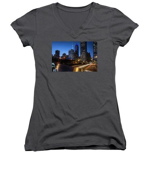 The East Side Skyline Of Chicago  Women's V-Neck