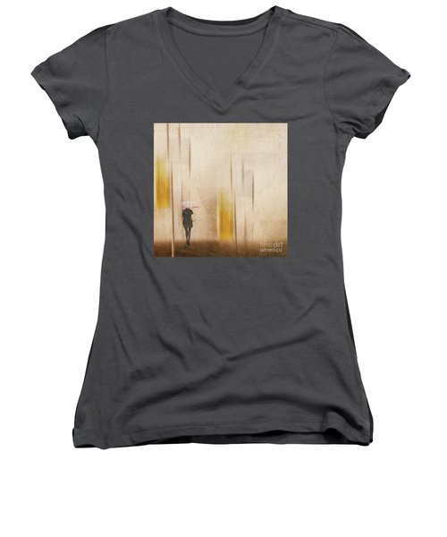 Women's V-Neck T-Shirt featuring the photograph The Edge Of Autumn by LemonArt Photography