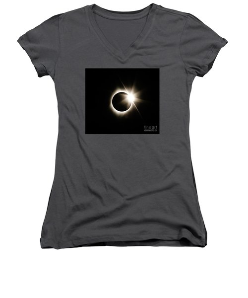 The Edge Of Totality Women's V-Neck T-Shirt