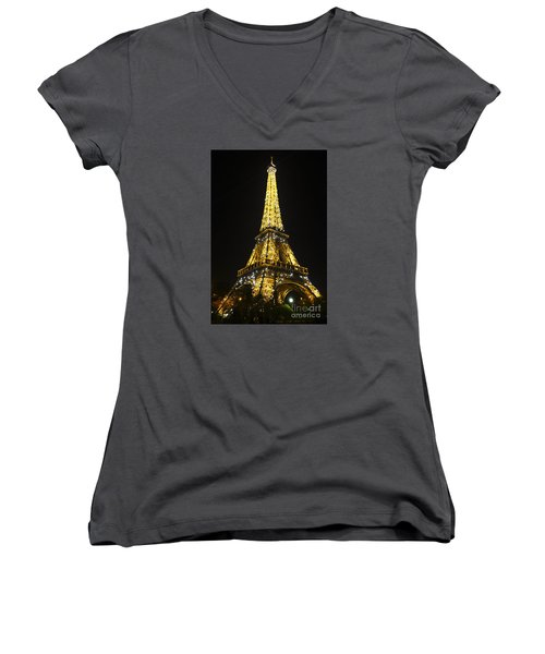 The Eiffel Tower At Night Illuminated, Paris, France. Women's V-Neck T-Shirt (Junior Cut) by Perry Van Munster