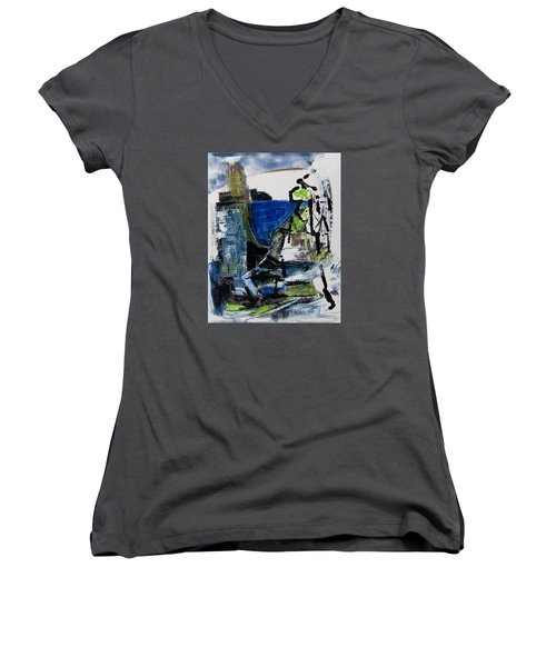 Women's V-Neck T-Shirt (Junior Cut) featuring the painting The Elements by Betty Pieper