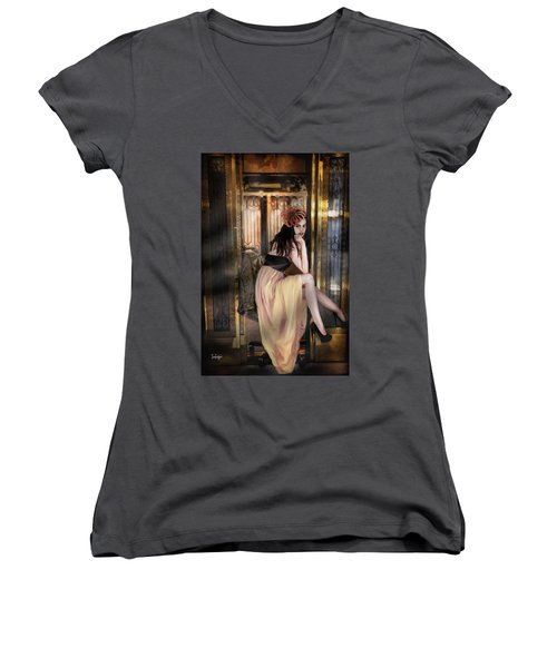 The Elevator Girl Women's V-Neck T-Shirt