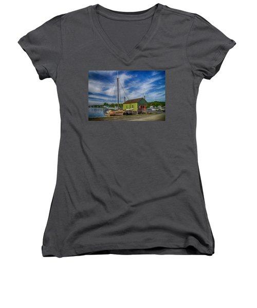 The Emma C. Berry, Mystic Seaport Museum Women's V-Neck T-Shirt (Junior Cut)
