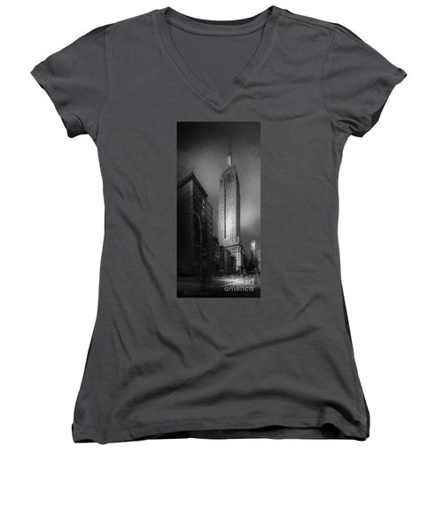 Women's V-Neck T-Shirt (Junior Cut) featuring the photograph The Empire State Ch by Marvin Spates