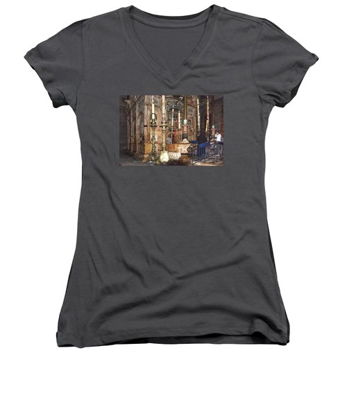 Women's V-Neck featuring the photograph The Empty Tomb Of Christ by Mae Wertz