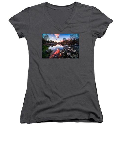 The End Of Autumn Women's V-Neck T-Shirt (Junior Cut) by Giuseppe Torre