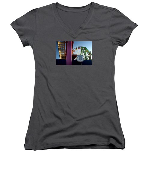 The End Of Route 66 1 Women's V-Neck (Athletic Fit)