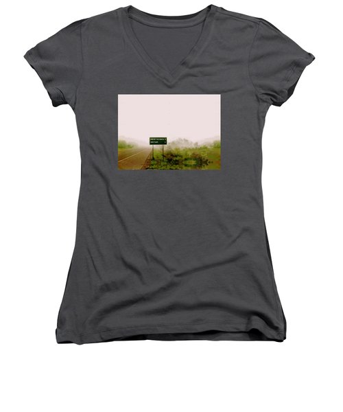 The End Of The Earth Women's V-Neck T-Shirt (Junior Cut) by Sam Sidders