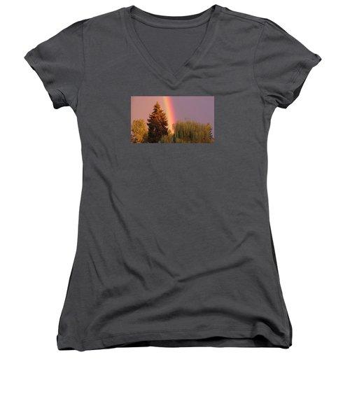 The End Of The Rainbow Women's V-Neck T-Shirt (Junior Cut) by Karen Molenaar Terrell