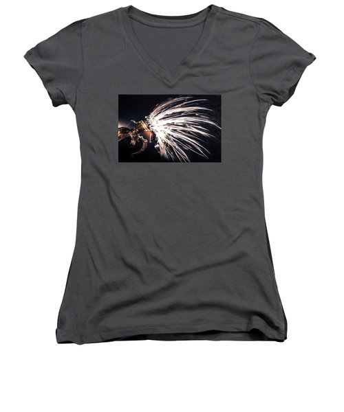 The Exploding Growler Women's V-Neck T-Shirt (Junior Cut) by David Sutton