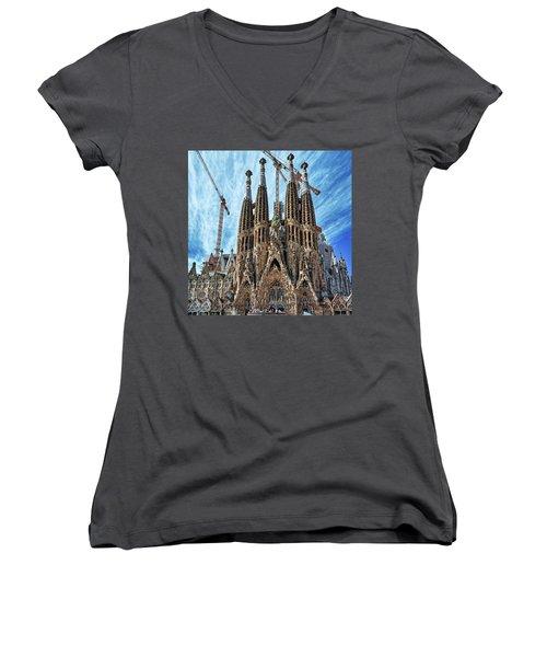 The Facade Of The Sagrada Familia Women's V-Neck