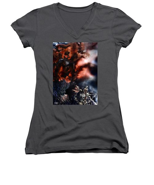 Women's V-Neck T-Shirt (Junior Cut) featuring the painting The Fall Of Azturath by Curtiss Shaffer