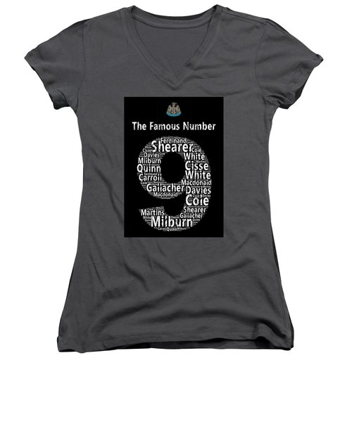 The Famous Number 9 - Newcastle United Wordart Women's V-Neck