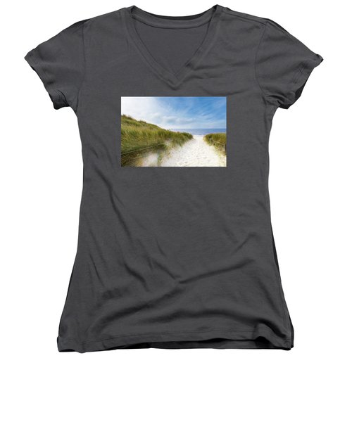 Women's V-Neck T-Shirt (Junior Cut) featuring the photograph The First Look At The Sea by Hannes Cmarits