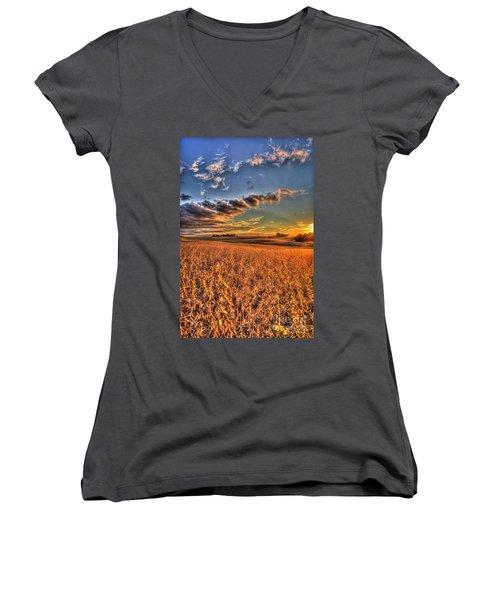 The Fleeting Sunset Missouri Soybean Farming Art  Women's V-Neck