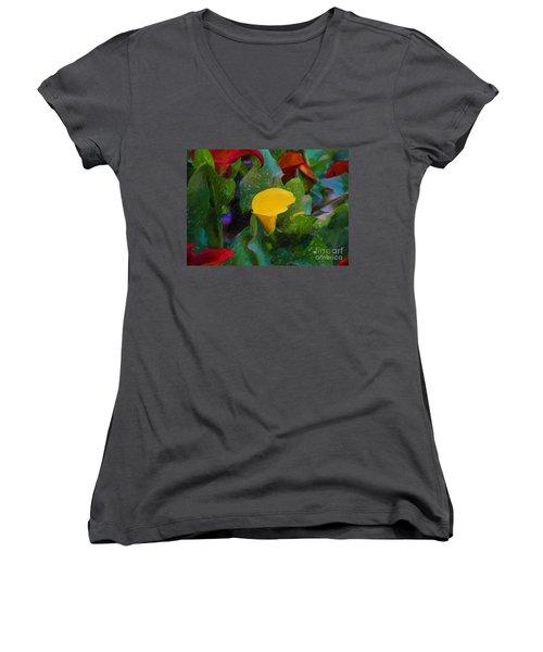 Women's V-Neck T-Shirt (Junior Cut) featuring the photograph The Flowers In Juarez Park by John Kolenberg