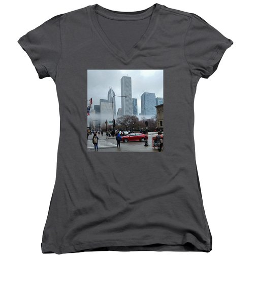 The Fog Lifts On Michigan Avenue Women's V-Neck (Athletic Fit)