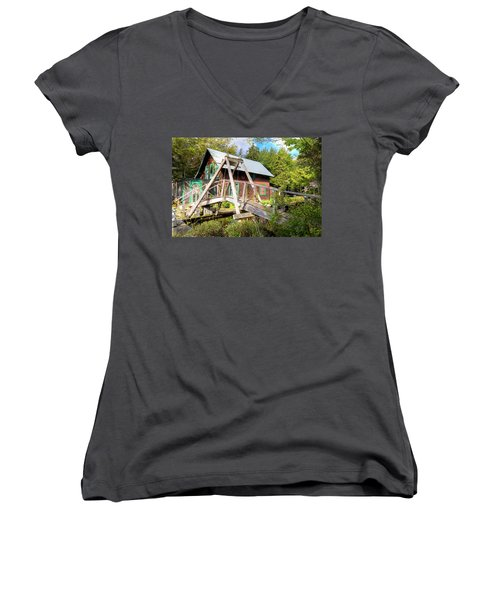 Women's V-Neck T-Shirt featuring the photograph The Footbridge At Palmer Point by David Patterson