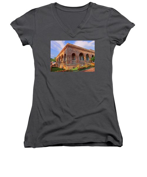Women's V-Neck T-Shirt (Junior Cut) featuring the photograph The Former British Consulate In Kaohsiung In Taiwan by Yali Shi