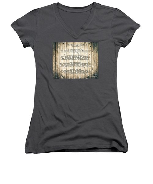 The Four Agreements 8 Women's V-Neck T-Shirt (Junior Cut) by Andrea Anderegg