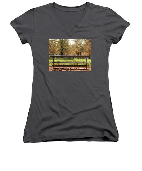 The French Bench And The Autumn Women's V-Neck T-Shirt (Junior Cut) by Yoel Koskas
