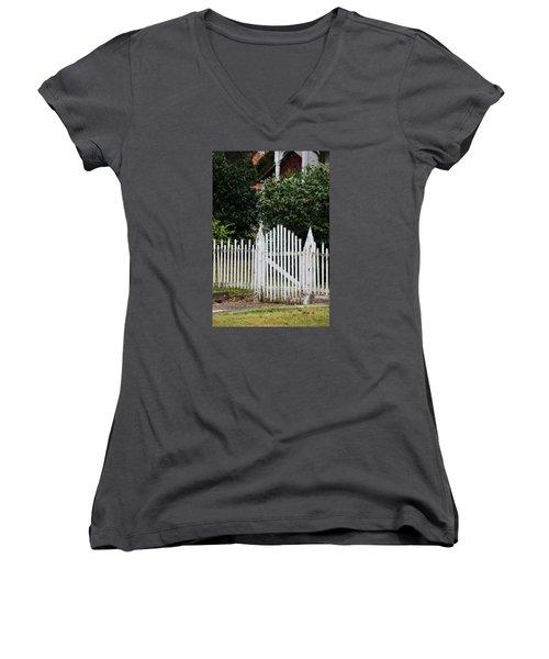 The Front Gate Women's V-Neck T-Shirt (Junior Cut) by Lynn Jordan