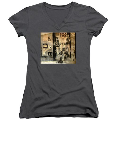 Women's V-Neck T-Shirt (Junior Cut) featuring the drawing The Gang by Albert Puskaric