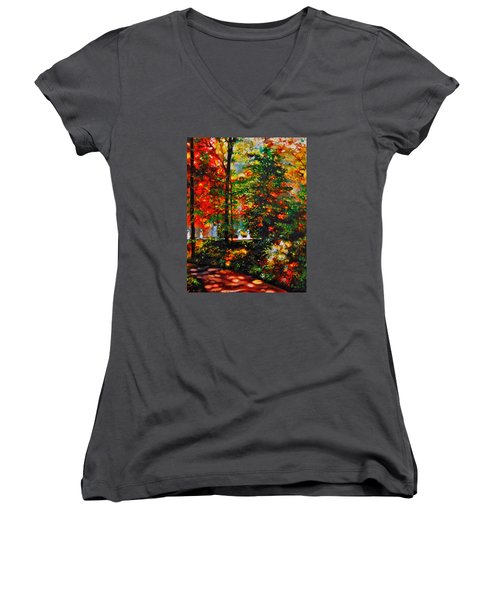 Women's V-Neck T-Shirt (Junior Cut) featuring the painting The Garden by Emery Franklin