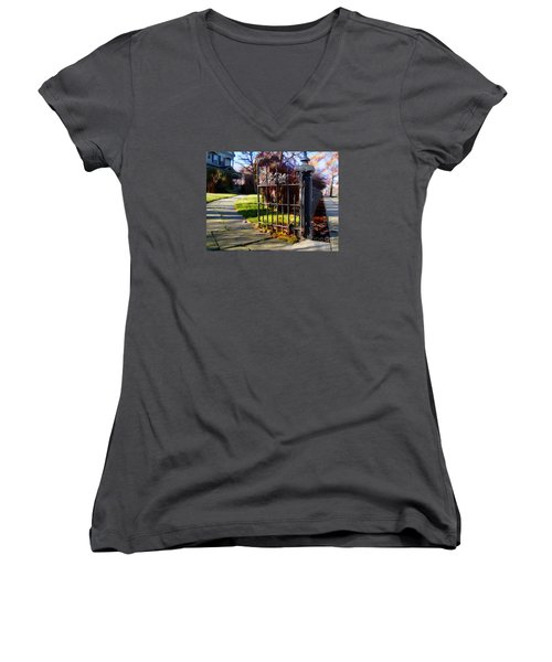 Women's V-Neck T-Shirt (Junior Cut) featuring the photograph The Gate by Betsy Zimmerli