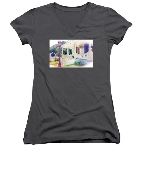 The Gate Porch And The Lamp Post Women's V-Neck T-Shirt (Junior Cut) by Becky Lupe