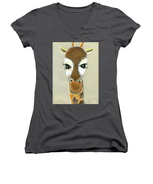 The Giraffe Women's V-Neck T-Shirt