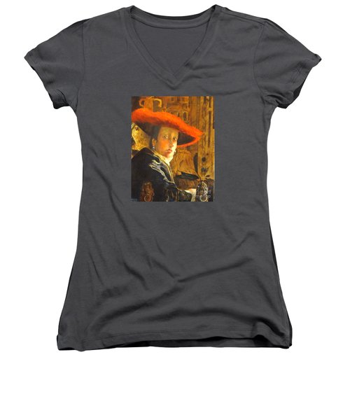 The Girl With The Red Hat After Jan Vermeer Women's V-Neck