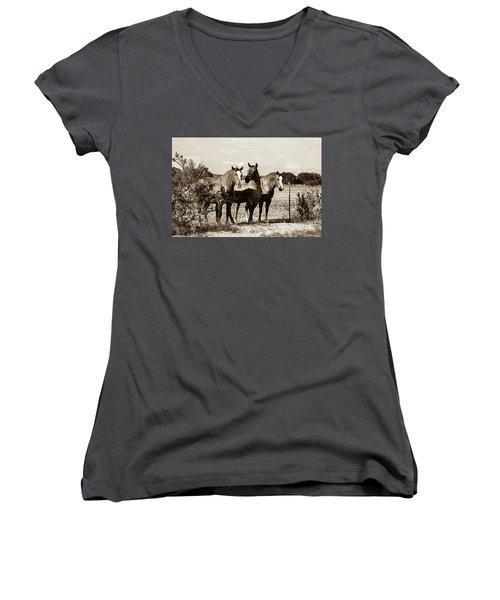 The Girlz  Sepia Women's V-Neck T-Shirt