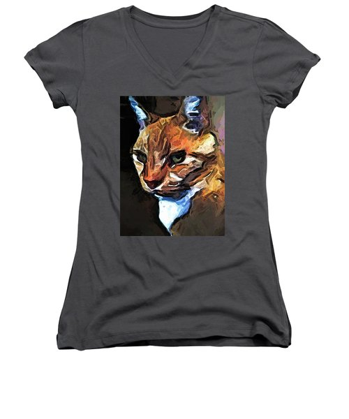 The Gold Cat With The Stage Presence Women's V-Neck (Athletic Fit)