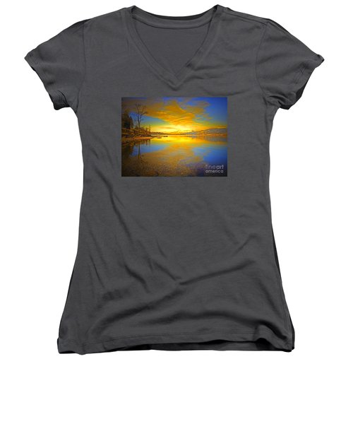 The Golden Clouds Of Winter Women's V-Neck