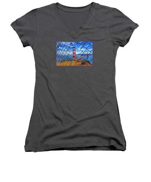 The Golden Gate Bridge  Women's V-Neck T-Shirt (Junior Cut) by Alpha Wanderlust