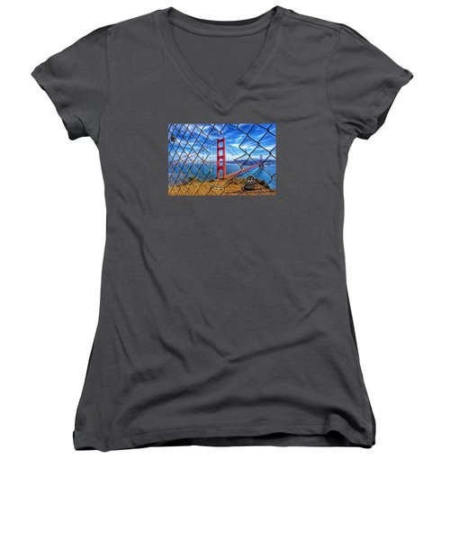 The Golden Gate Bridge  Women's V-Neck T-Shirt