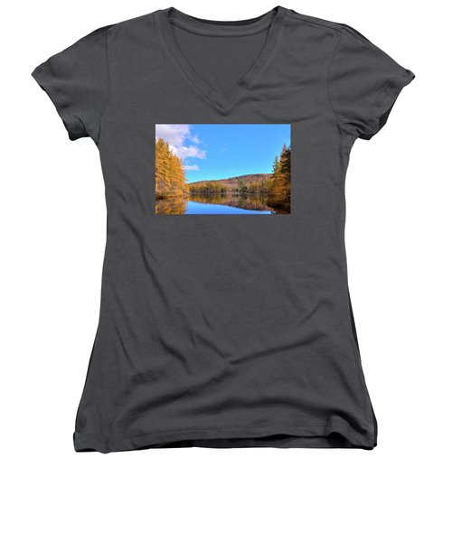 Women's V-Neck T-Shirt (Junior Cut) featuring the photograph The Golden Tamaracks Of Woodcraft Camp by David Patterson