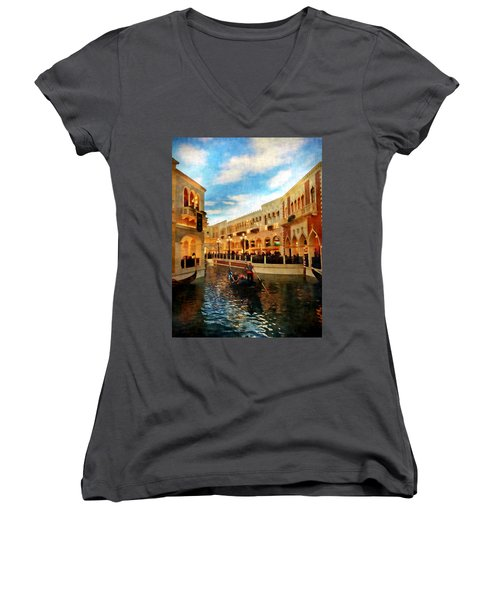 The Gondolier Women's V-Neck T-Shirt (Junior Cut) by Dan Stone