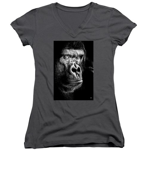 The Gorilla Large Canvas Art, Canvas Print, Large Art, Large Wall Decor, Home Decor Women's V-Neck T-Shirt (Junior Cut) by David Millenheft