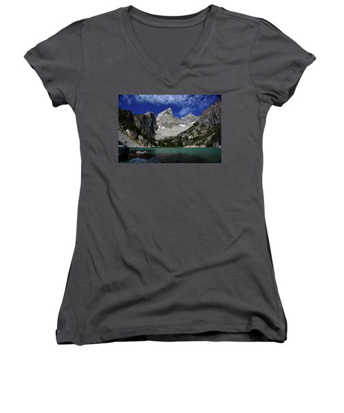 The Grand And Mount Owen From Delta Lake Women's V-Neck T-Shirt (Junior Cut) by Raymond Salani III