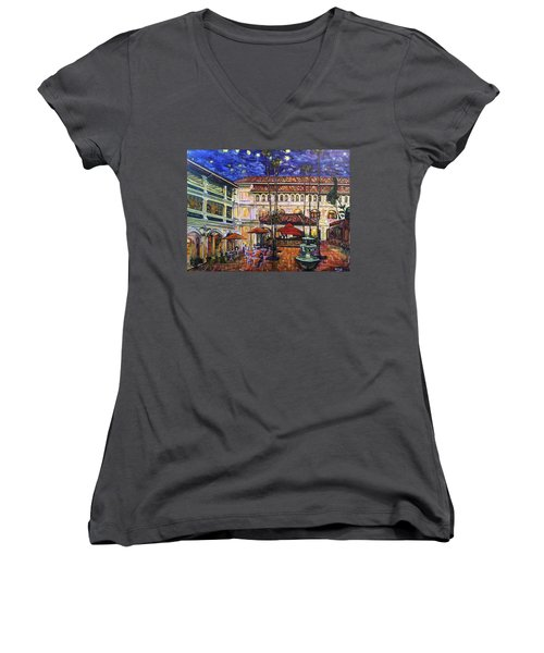 The Grand Dame's Courtyard Cafe  Women's V-Neck T-Shirt (Junior Cut) by Belinda Low