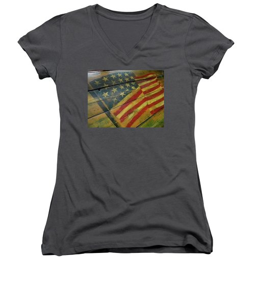 The Great American West Cafe  Women's V-Neck T-Shirt (Junior Cut) by Sian Lindemann