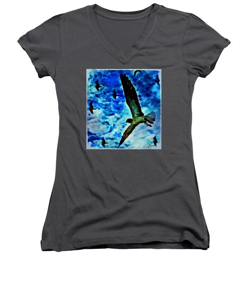 Women's V-Neck T-Shirt featuring the painting The Great Seagull by Joan Reese