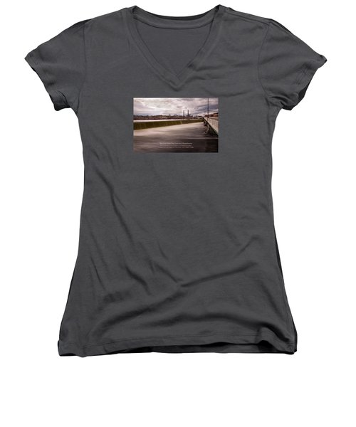 The Great Stone Dam Lawrence, Massachusetts Women's V-Neck (Athletic Fit)