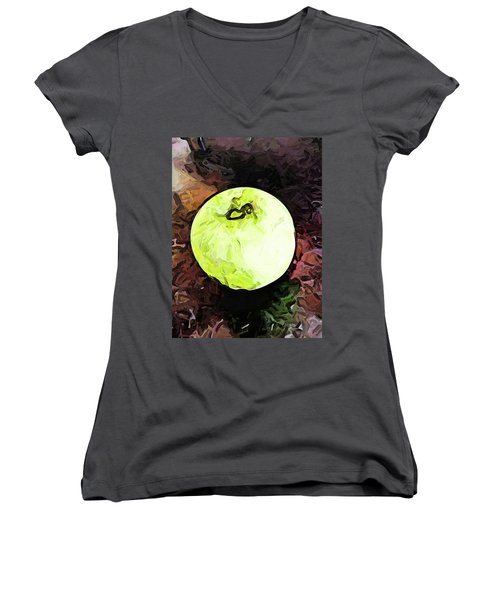 The Green Apple In The Bright Light Women's V-Neck (Athletic Fit)