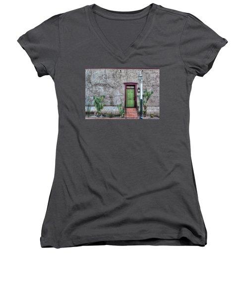 Women's V-Neck T-Shirt (Junior Cut) featuring the photograph The Green Door by Lynn Geoffroy